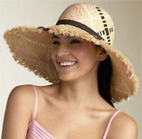 Juicy Couture Sun Hat Raffia Straw Ribbon Colors NEW $85