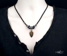 Mens Ladies Brown Leather Pendant Necklace Beaded Bronze Vintage Surfer Design