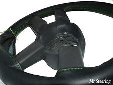 FOR VOLVO FH TRUCK 2002+ REAL BLACK LEATHER STEERING WHEEL COVER GREEN STITCH