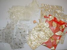 NEW. 86 Organza Bags White & Silver Heart, Cream, Various Sizes Small & Large