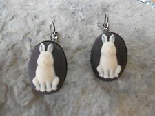 *BUNNY RABBIT CAMEO LEVER BACK FRENCH EARRINGS!! QUALITY- EASTER, HOLIDAY, GIFT