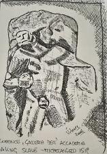 Unikat Mooseart Gemälde Zeichnung Skizze Tusche Architektur ca.10x15cm Original