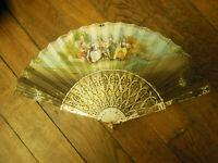 Superbe éventail peinture sur papier 19e  Fan 19e Monture doré à l'or en os