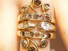 Art Deco 14K Gold Insert Ring Rose Cut Chocolate Yellow White Pave Set Diamonds