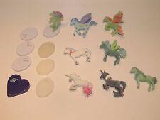 8 Bella Sara Miniature Series Flocked Velvety Horse Pegasus Unicorn Lot w Stands