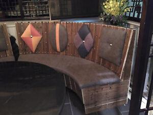 Wholesale 8-12pcs Restaurent Black Square Tables / Circualr Bench & round table