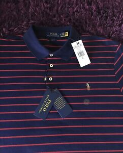 BNWT Super Cool 100% Genuine Ralph Lauren Slim Fit Striped Polo Shirt In XL