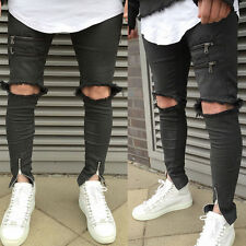UK Men's Distressed Ripped Jeans Moto Black Denim Pants Slim Skinny Fit Trousers