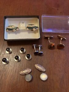 VINTAGE CUFFLINKS & STUDS Mini Car STRATTON Boxed,  Mother of Pearl Lovely Lot