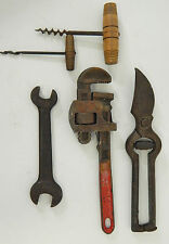 LOT HAND TOOLS USA, GUARANTEED PIPE WRENCH, CRESCENT DRILL, TIN SNIPS