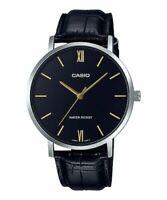 Casio MTP-VT01L-1B Men's Minimalistic Black Dial Black Leather Band Analog Watch