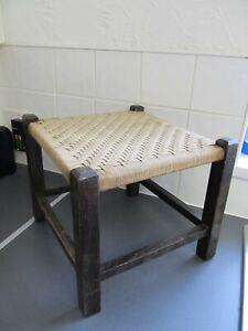 Vintage Original Woven Wicker Stool Seat Rattan Wood cottage 31cm w LOFT FIND
