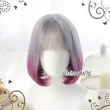 Gray Mixed Purple Wavy Lolita Style Heat Resistant Anime Cosplay Full Hair Wig