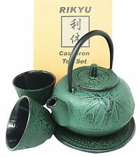 Japanese Evergreen Bamboo Green Heavy Cast Iron Tea Pot Set w/ Trivet & Cups