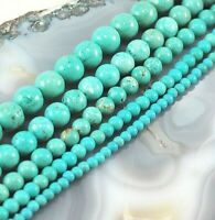 "Gemstone Blue Magnesite Turquoise Round Bead 15"" strand 4 6 8 10 12mm Free Ship"