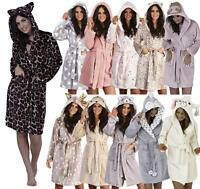 Ladies Luxury Soft Coral/Sherpa Fleece 3D Hooded Animal Dressing Gown Robe