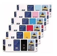 6 x Original Tinte Patronen HP Designjet 5000 5500 / Nr. 83 UV C4940A -C4945A