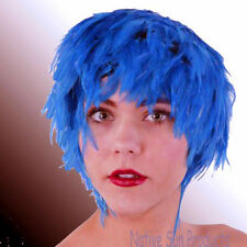 Wig TURQUOISE BLUE Rooster Hackle Feathers Halloween Costume Punk Retro New