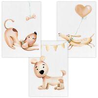 3er Set Wandbilder Baby Kinderzimmer Deko Poster DIN A4 W10 Niedliche Hunde Dog