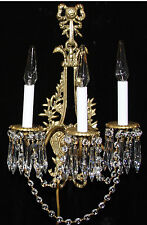 2 Antique Bronze Brass French Crystal Sconces Chandelier Vintage bird head laure