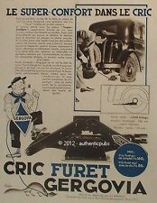 PUBLICITE GERGOVIA CRIC FURET LE SUPER CONFORT AUTOMOBILE DE 1934 FRENCH AD PUB