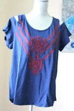 NEW LUCKY BRAND WOM XL Embroidered Cold Shoulder Top BLOUSE INDIG RED LACE SHORT