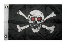 """12x18 12""""x18"""" Jolly Roger Pirate Evil Red Eyes Boat Car Motorcycle Flag"""
