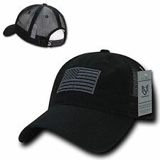 American USA US Flag Patch United States America Baseball Hat Cap TRUCKER Black
