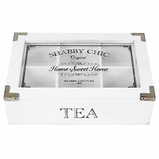 White Wooden Rustic 6 Compartment Tea Bag Chest Box Storage Caddy Shabby Chic