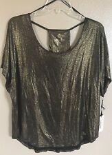 Juicy Couture Black Tie  Holiday Top BLK/GOLD METALLIC Size XS