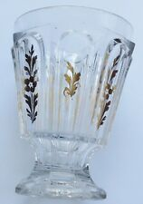 RARE verre Charles X cristal Baccarat décor floral  or fin pied douche