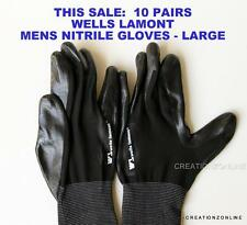 1O PAIRS Black Nitrile Safety Work Gloves Wells Lamont General  Mechanic Garden