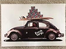 NOS Vintage Rare Rainier Beer Poster, Fresh Cargo VW Beetle Surfing