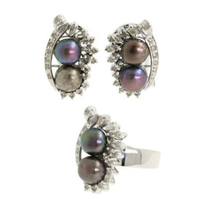 Contemporary Modern 14k White Gold Diamond Tahitian Black Pearl Earring Ring Set