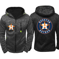Men's Houston Astros Hoodie Baseball Sweatshirt Zip Up Jacket Sports Hooded Coat