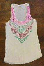 Women's sOliver White Racer Back T-shirt With Green & Pink Print Size XS