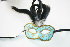 VENETIAN MASQUERADE CARNIVAL PAPER MACHE RED BLUE PURPLE FEATHER LADIES MASKS