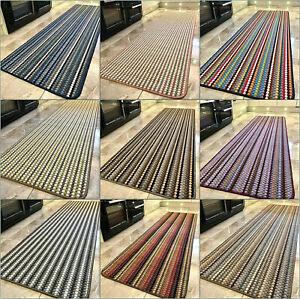 New Machine Washable Non Slip Mat Modern Colours Striped Kitchen Utility Runner