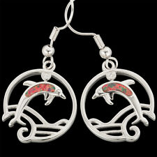 Mexican Brown Blue Fire Opal Inlay Silver Jewelry Dangle Drop Earrings