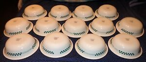 """13 Corning Ware Corelle FARM FRESH CEREAL SOUP BOWLS 6 1/4"""" WIDE GREEN CHECKERED"""