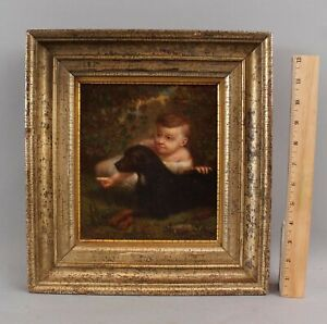 19thC Antique Folk Art Portrait Oil Painting, Young Boy & Black Labrador Dog