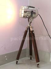 Chrome Vintage Marine Tripod Searchlight With Stand Nautical Studio Floor Lamp