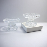 "Small Candlestick Taper Candle Holders Fluted Clear Glass 2.5"" Ht.  2 pc set"