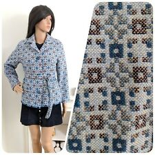 Vintage 60s Blue Welsh Tapestry Melin Mod Geo Wool Belted Coat Jacket S 8 10