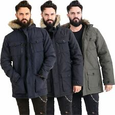 Mens Fur Lined Hooded Parka Coat Jacket Quilted Outdoor Winter Warm Thick New