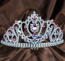 Pink Wedding Bridal Tiara Hair Combs Rhinestones Crystal Crown Women Headband