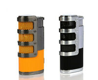COHIBA Gridding Stripes Triple Jet Torch Butane Cigarette Cigar Lighter W/ Punch