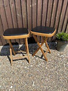 Pair Of Vintage Retro Folding Wooden Stool Black Vinyl Seat VW Camping Picnic