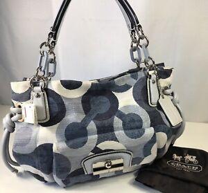 Coach Op Art Hobo Kristin Purse Blue Leather Canvas Dust Bag B1082-14750 New