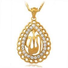 PEAR Shape Allah Pendant Gold Plated Rhinestone Necklace Islamic Fashion Jewelry